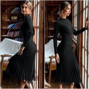 Fall Ribbed Knit Sweater Dress BLACK